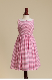 peter pan collared smocked dress in pink