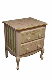 petite amie nightstand with hand-painted details