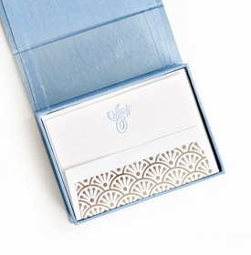 petite light blue silk stationery box - p12
