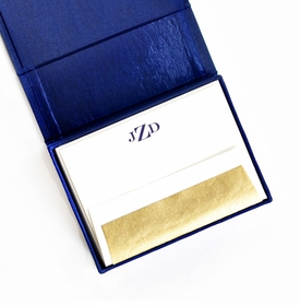 petite navy silk stationery box - p1