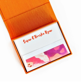 petite orange silk stationery box - p10