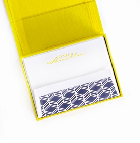 petite yellow silk stationery box - p16