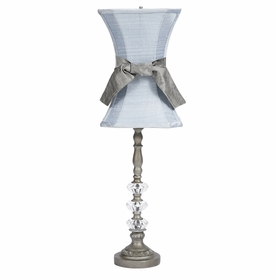pewter 3 glass ball lamp with blue shade and sash