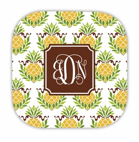 pineapple repeat hardback rounded coaster<br>(set of 4)
