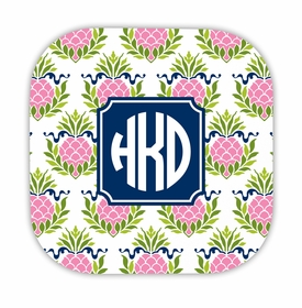 pineapple repeat pink hardback rounded coaster<br>(set of 4)