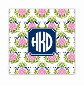 pineapple repeat pink square paper coaster<br>set of 50