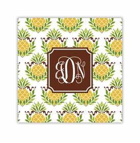 pineapple repeat square paper coaster<br>set of 50