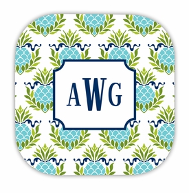 pineapple repeat teal hardback rounded coaster<br>(set of 4)