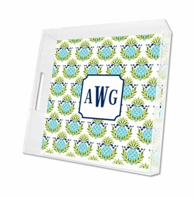 pineapple repeat teal lucite tray - square