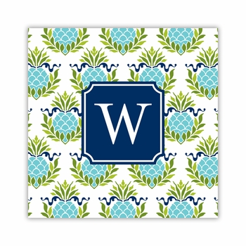 pineapple repeat teal square paper coaster<br>set of 50