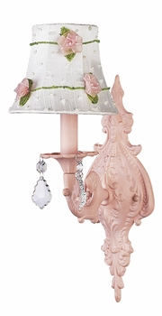 pink 1 arm wall sconce w/pink net flower shade