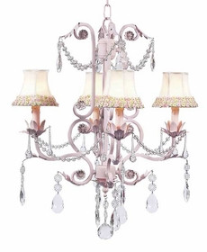 pink 4 arm valentino chandelier w/flower border shades