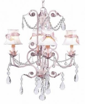 pink 4 arm valentino chandelier-white shade/pink sashes