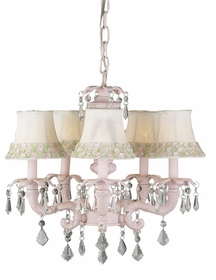 pink 5-arm chateau chandelier w/flower border shades