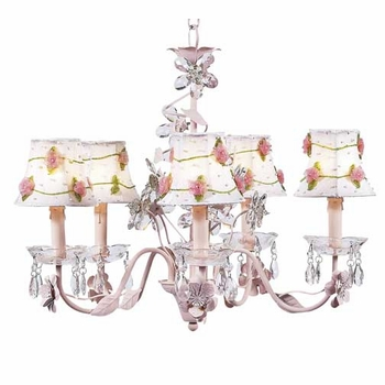 pink 5 arm crystal chandelier w/flower net shades