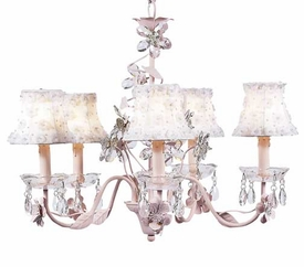 pink 5-arm crystal flower chandelier w/flower petal shades