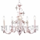 pink 5 arm crystal flower chandelier - white shade
