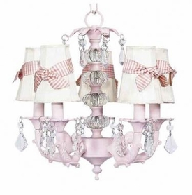 pink 5 arm stacked ball chandelier-ivory sconce shades