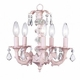 pink 5 arm stacked glass ball chandelier-white sconce shades