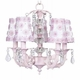 pink 5 arm stacked glass chandelier w/sconce shades