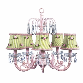 pink 5-arm waterfall chandelier w/green check shades