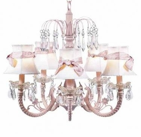 pink 5 arm waterfall chandelier-white shades/pink sashes