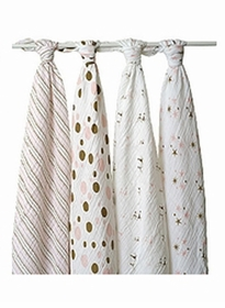 pink and brown muslin wraps by Aden & Anais