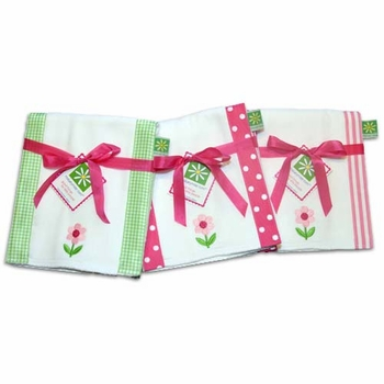 pink and green flower burp cloth set