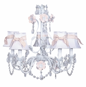 pink and white flower garden chandelier with shades