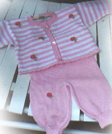 Pink and White Stripe Posies Sweater