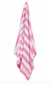 pink and white stripe towel