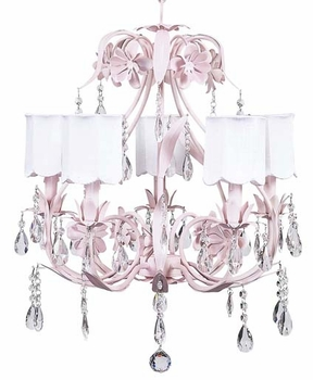 pink ballroom chandelier with white scallop shades