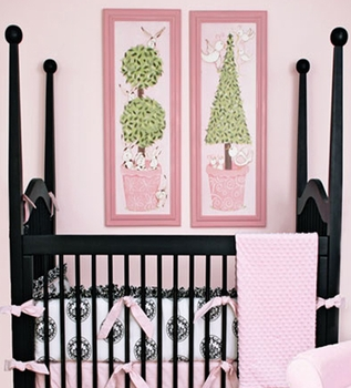 pink bird topiary wall art - pink frame - SOLD OUT