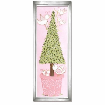 pink bird topiary wall art - silver frame
