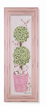 pink bunny topiary wall art - green frame - SOLD OUT