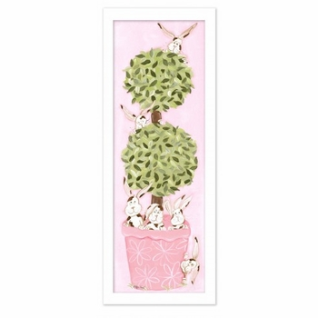 pink bunny topiary-white frame