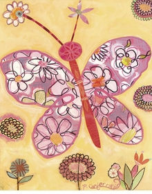 pink butterfly collage wall art