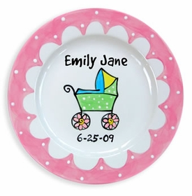 pink carriage baby plate