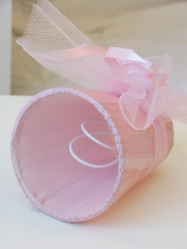 Pink Chandelier Shade with Tulle bow