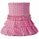 pink check skirted chandelier shade