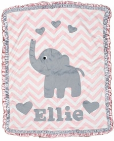 pink chevron elephant baby blanket with hearts