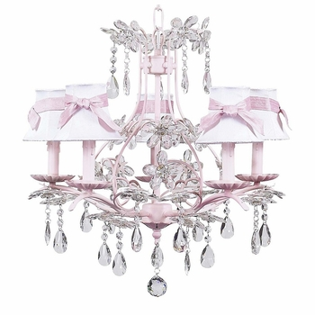 pink cinderella chandelier w/ white bell shades and pink sash
