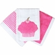 pink cupcake burp cloth set(Set of three)