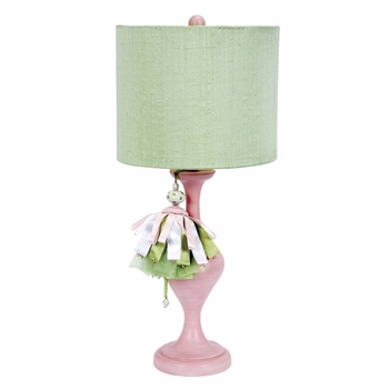 pink curvature lamp with green tower shade