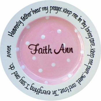pink dot personalized prayer plate