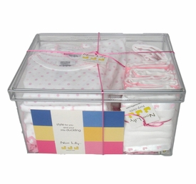 pink dots deluxe layette gift basket