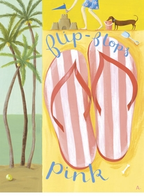 pink flip flops wall art canvas reproduction