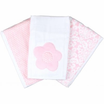 pink flower burp cloth set(Set of three)