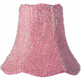 pink glass bead on fabric chandelier shade