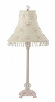 pink glass scroll lamp-pink bow shade